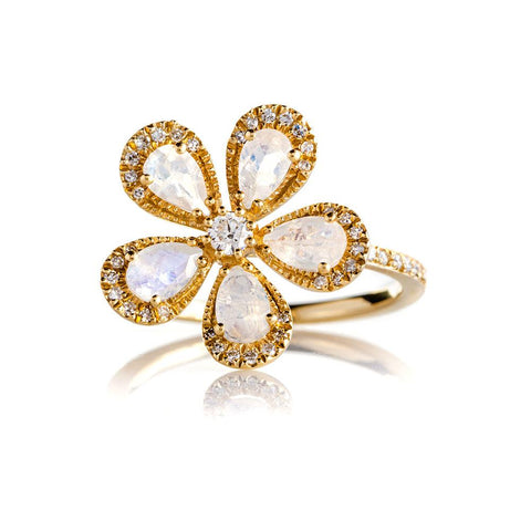 Moonstone Daisy Ring-Rings-Zofia Day Co.