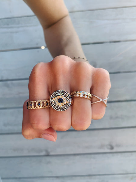 Ornate Evil Eye Ring-Rings-Zofia Day Co.