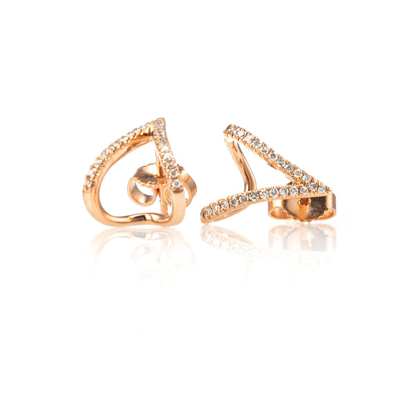 Pave Diamond V Claw Studs-Earrings-Zofia Day Co.