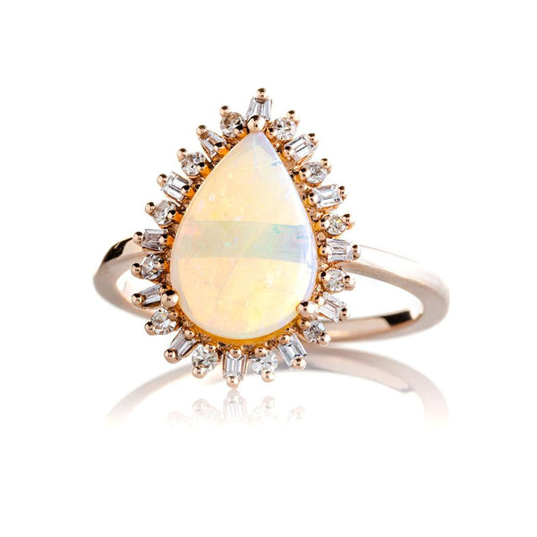 Pear Shaped Opal Ring with Baguette Diamond Halo-Rings-Zofia Day Co.