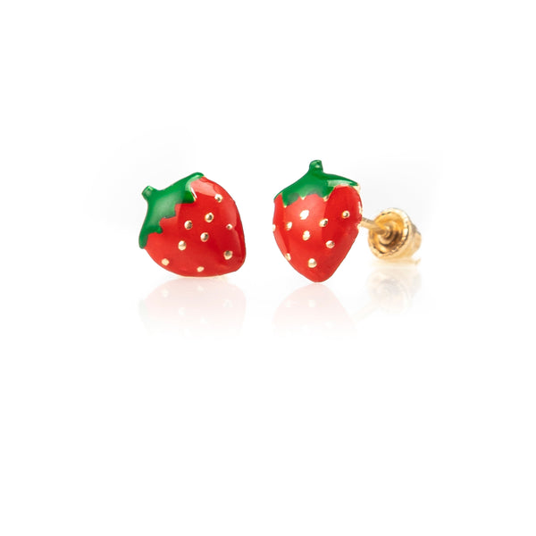 Petite Children's Strawberry Studs-Earrings-Zofia Day Co.