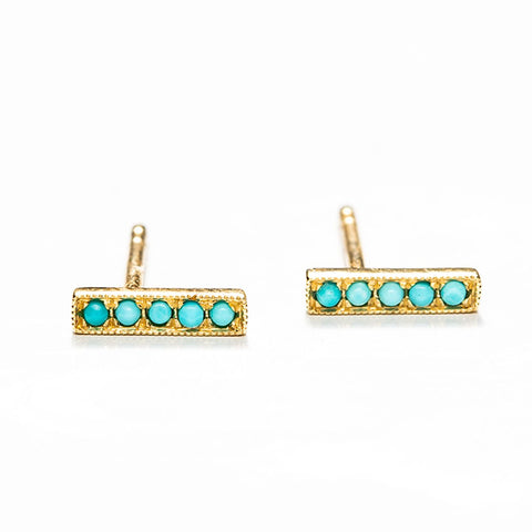 Petite Turquoise Bar Studs-Earrings-Zofia Day Co.