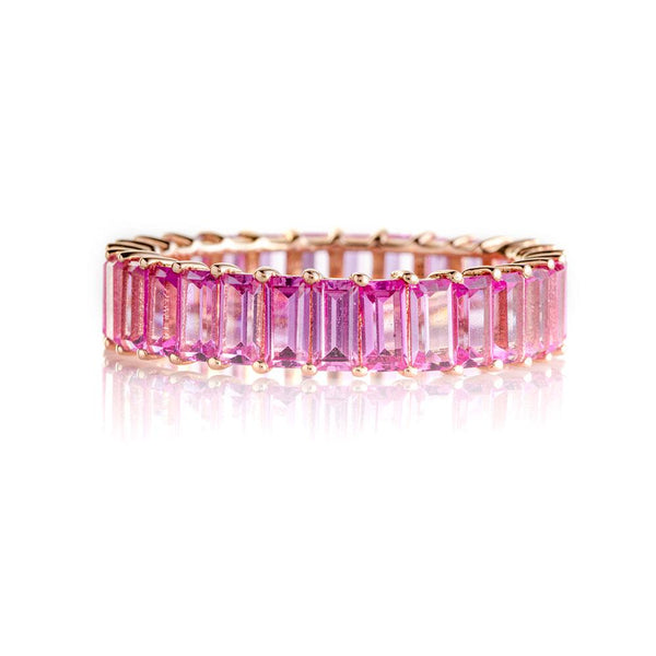 Pink Sapphire Emerald Cut Eternity Band-Rings-Zofia Day Co.