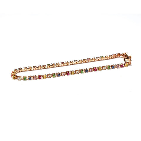 Rainbow Cube Tennis Bracelet-Bracelets-Zofia Day Co.