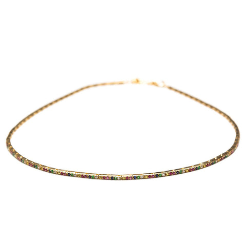 Rainbow Ribbon Choker-Necklaces-Zofia Day Co.