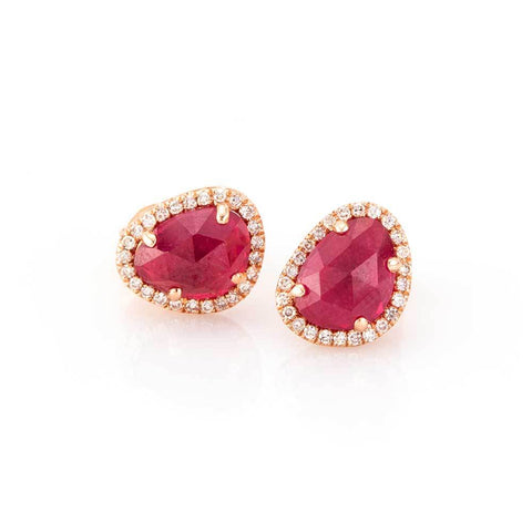 Raw Cut Ruby Studs-Earrings-Zofia Day Co.
