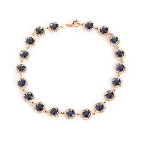 Sapphire and Diamond Tennis Bracelet-Bracelets-Zofia Day Co.