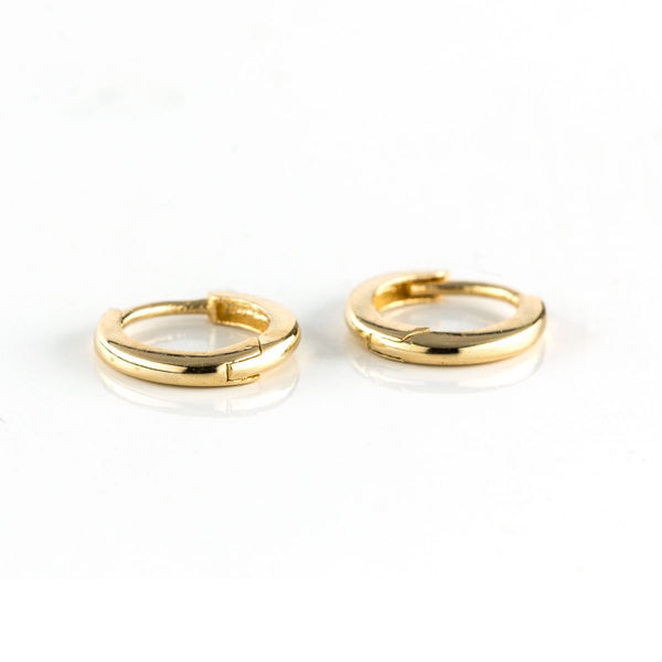 Solid Gold Petite Huggies-Earrings-Zofia Day Co.