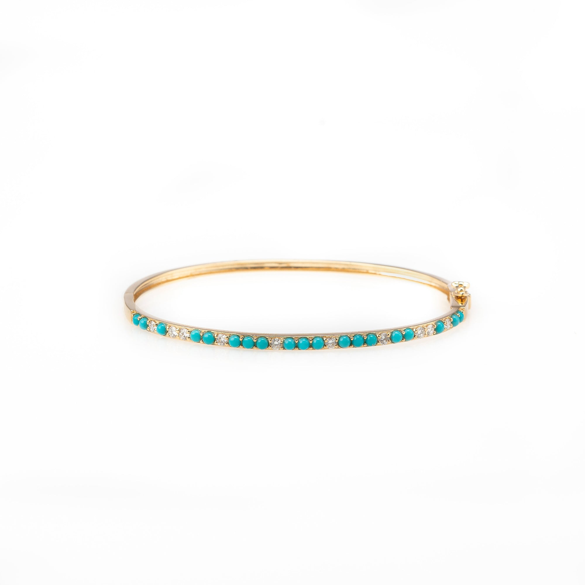 Turquoise Bangle with Diamonds-Bracelets-Zofia Day Co.