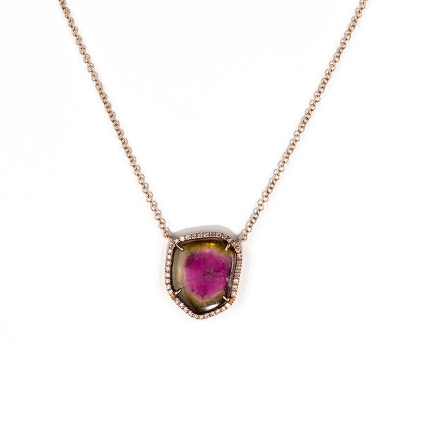 Watermelon Tourmaline Slice Necklace-Necklaces-Zofia Day Co.