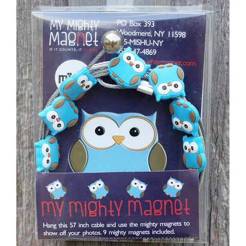 Image of Blue Owl  My Mighty Magnet System - The simple and creative way to display pictures, cards or whatever matters to you using super strong Mighty Magnets.