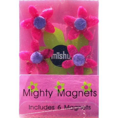 Image of Hot Pink Flower Extra Mighty Magnets - 6 Mighty Magnets per package