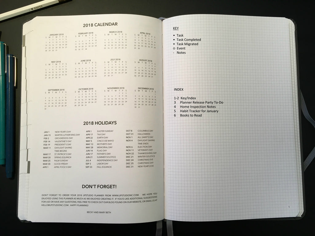 Bullet Journal Index with the 2017 UPstudio Planner
