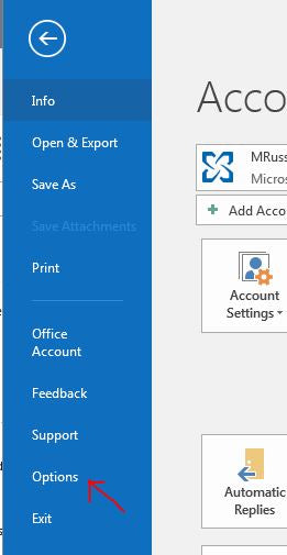 Outlook - Modify to Monday Start Date - Step 1: File - Options