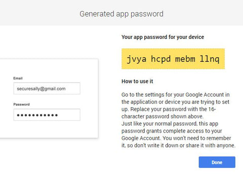 Generate App Password Screen, UPstudio Business E-mail with Gmail