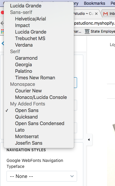 "When you add in Google Fonts you can great a new group for ""My Added Fonts"""
