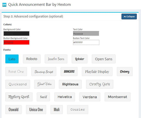 Quick Announcement bar by Hextom for UPstudio