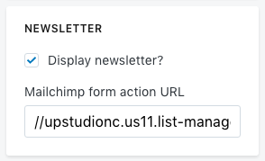 UPstudio MailChimp Form Action URL