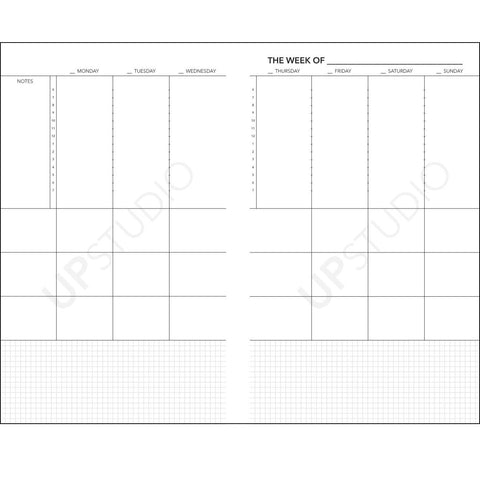 2018 UPstudio Planner Free Weekly Layout Download