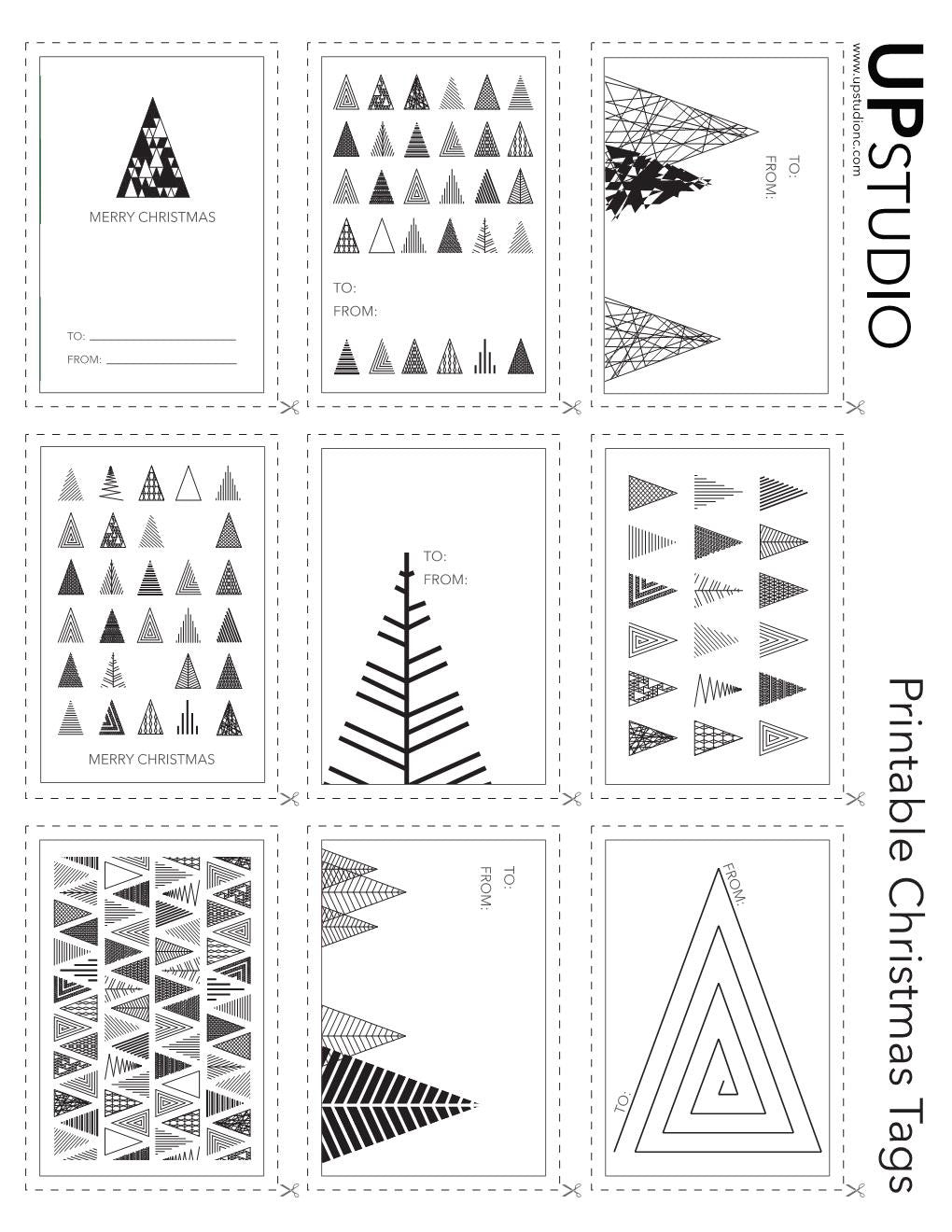 photo relating to Printable Christmas Tags Black and White named UPstudio - Printable Xmas Tags Absolutely free Down load