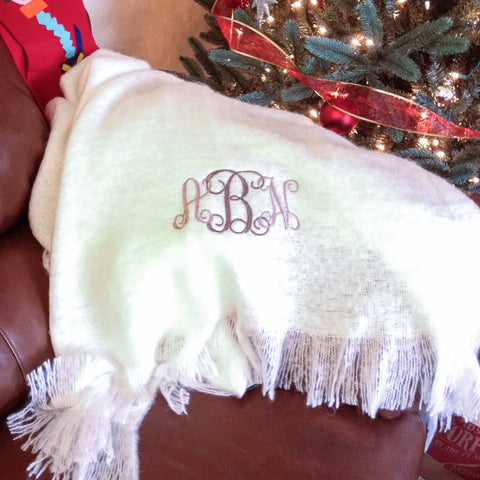 Blanket Throw monogrammed gift with initials