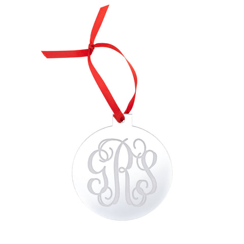round silver acrylic Christmas Ornament personalized