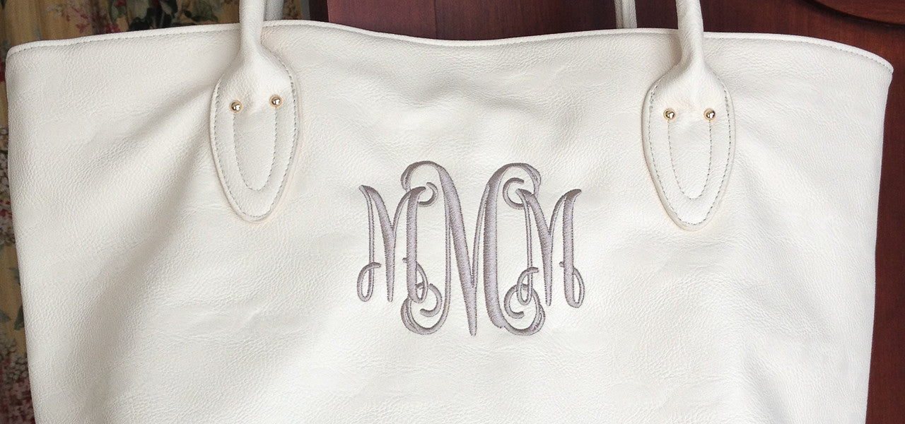 Supple stylish handbags with monogram or embroiodered name on front