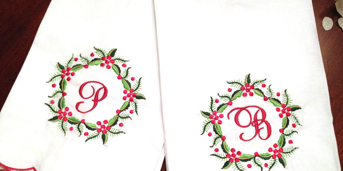 Napkins, towels, and throws with monogram or initial embroidered