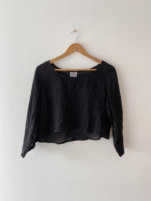 Black Cropped Linen Top | M