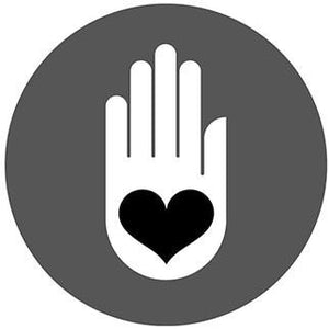 Symbol of hand with heart in palm