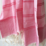 Rose and Silver Metallic Stripe Scarf - Kara Weaves  - 2