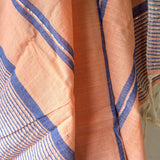 Bold Coral Metallic Stripe Scarf - Kara Weaves  - 2