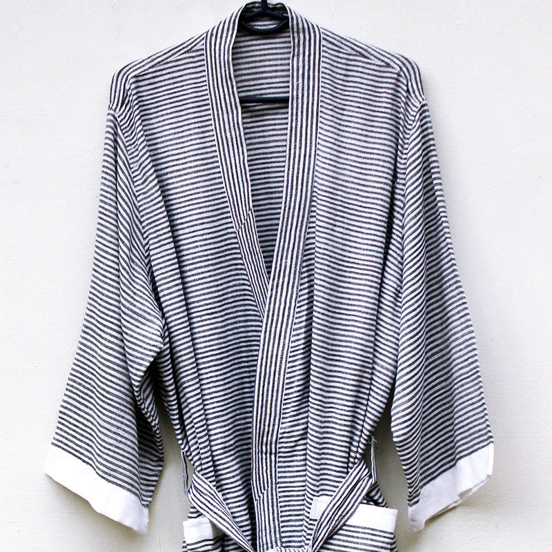 Black Pinstripe Robe - Kara Weaves  - 2