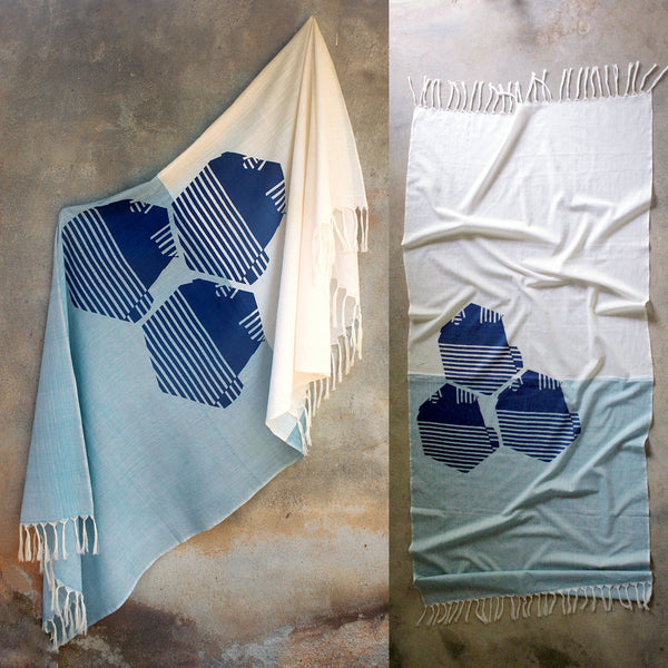BEAM Scarf: Hexagon Mountains with Blue and Natural Base - Kara Weaves
