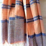 Bold Coral Metallic Stripe Scarf - Kara Weaves  - 1