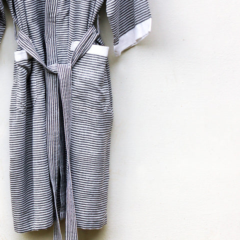 Black Pinstripe Robe - Kara Weaves  - 1