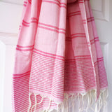Rose and Silver Metallic Stripe Scarf - Kara Weaves  - 1
