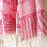 Rose and Silver Metallic Stripe Scarf - Kara Weaves  - 3