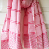 Rose and Silver Metallic Stripe Scarf - Kara Weaves  - 4