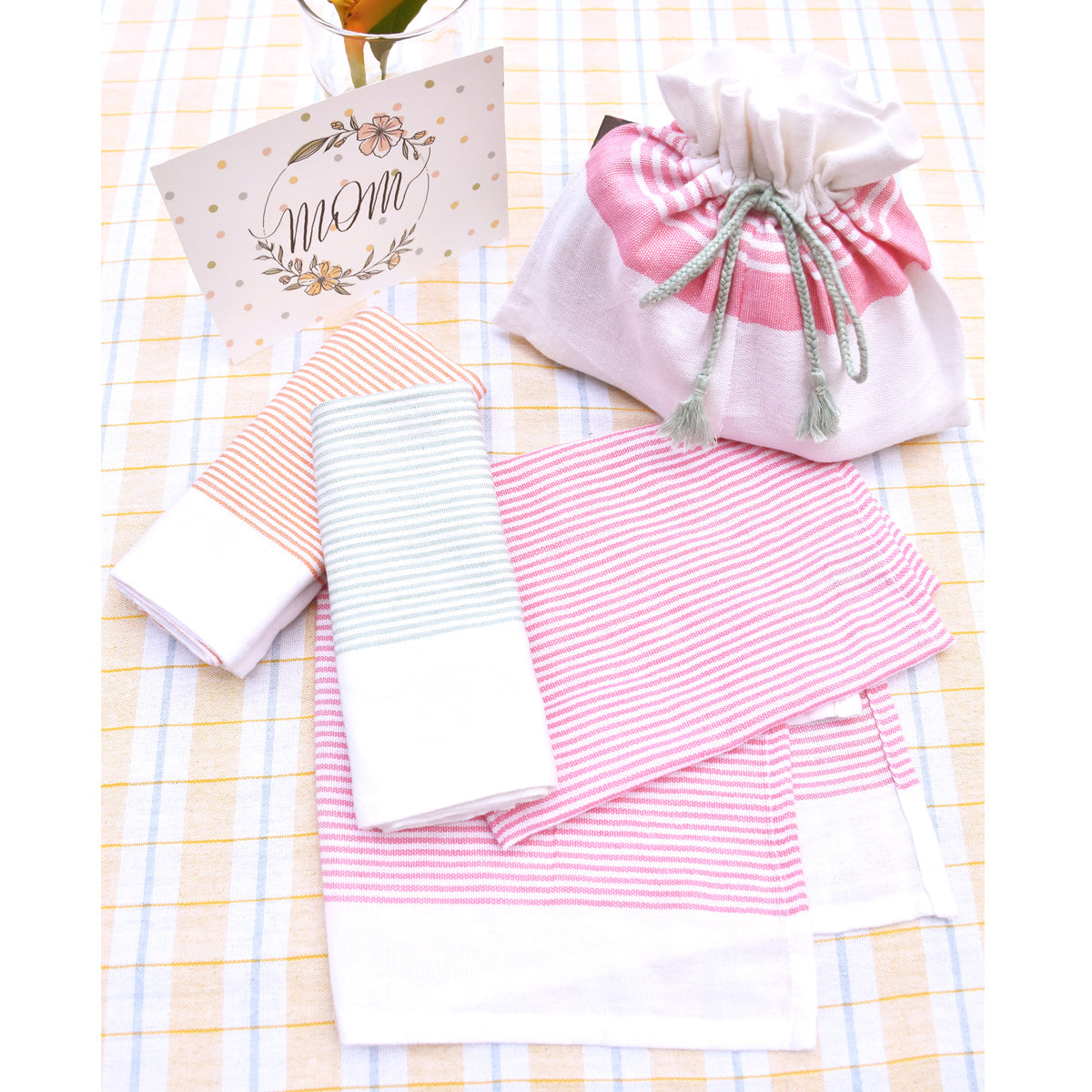Mother's Day gift set of 3- many stripe tea towels