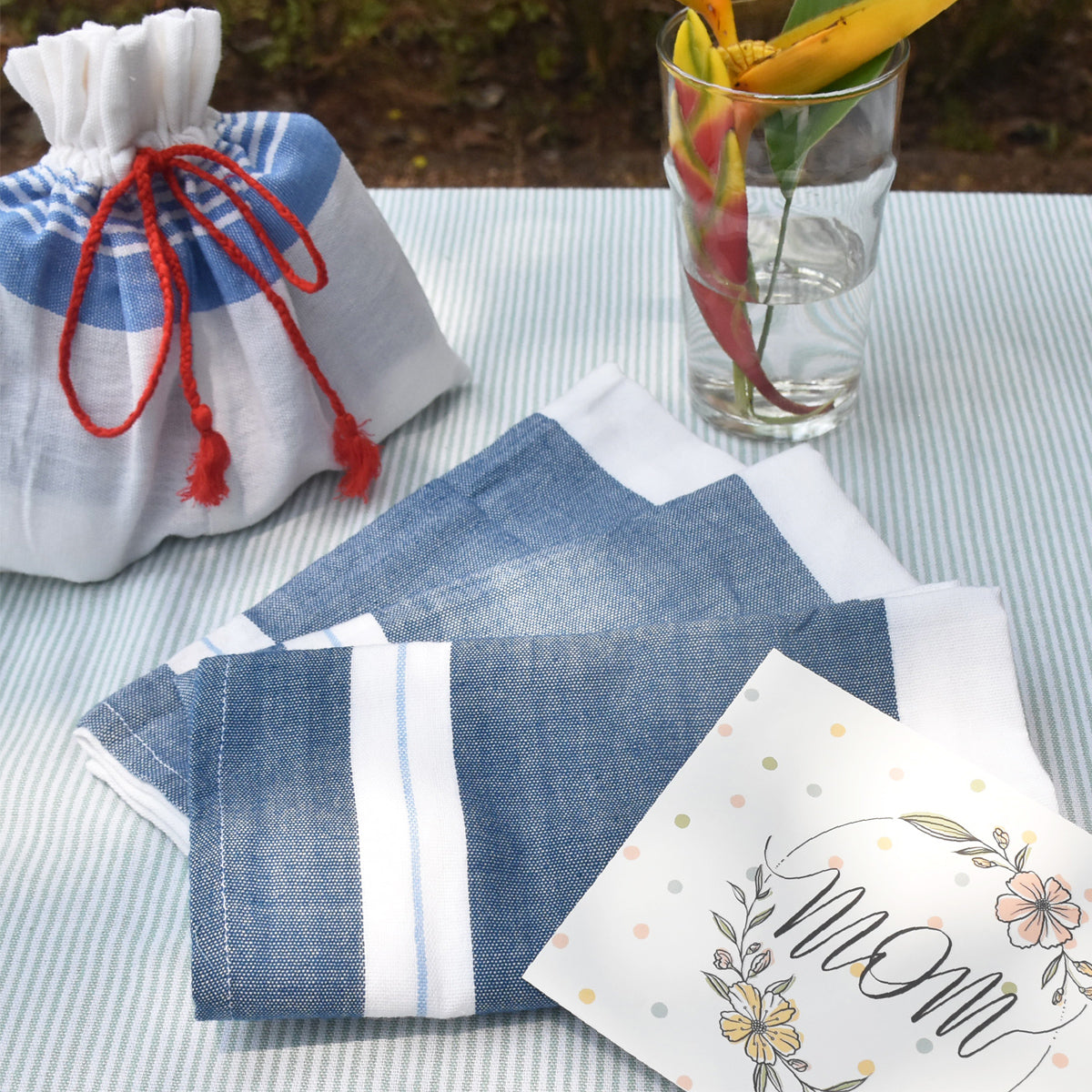 Mother's Day gift set of 3- Border stripe tea towels