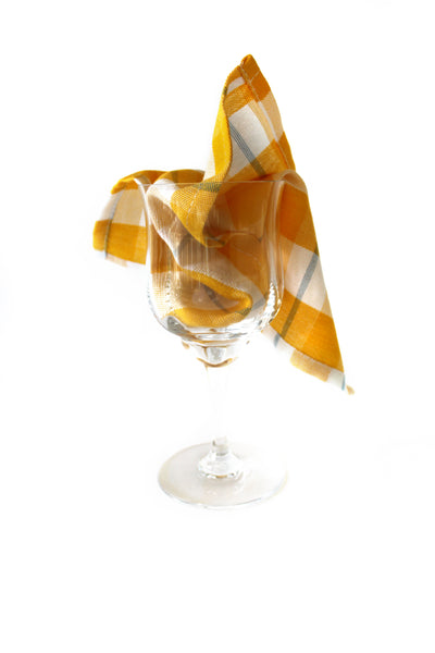 Madras gold cocktail napkin