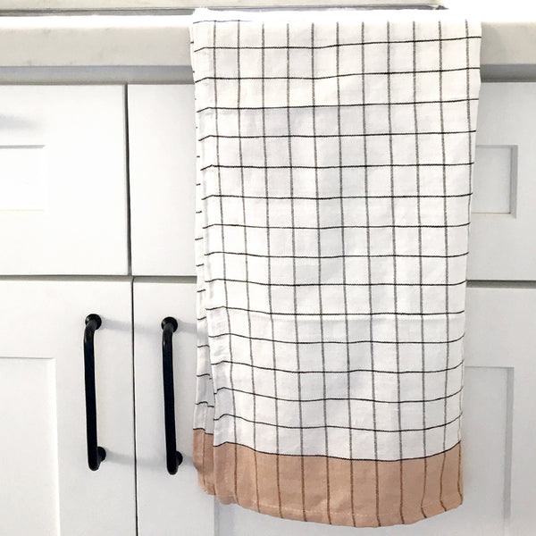 Peach Check Kitchen Towel