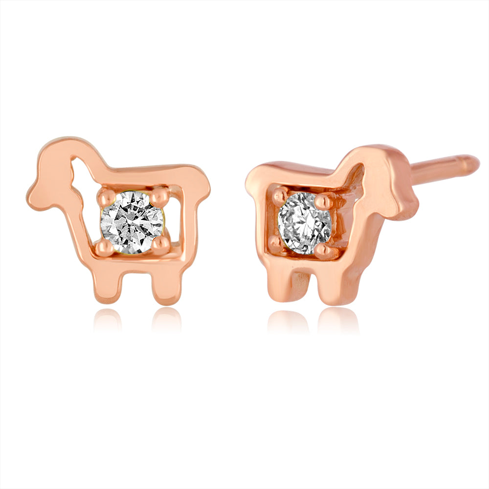 *14K Rose Gold Mini Logo Diamond Stud