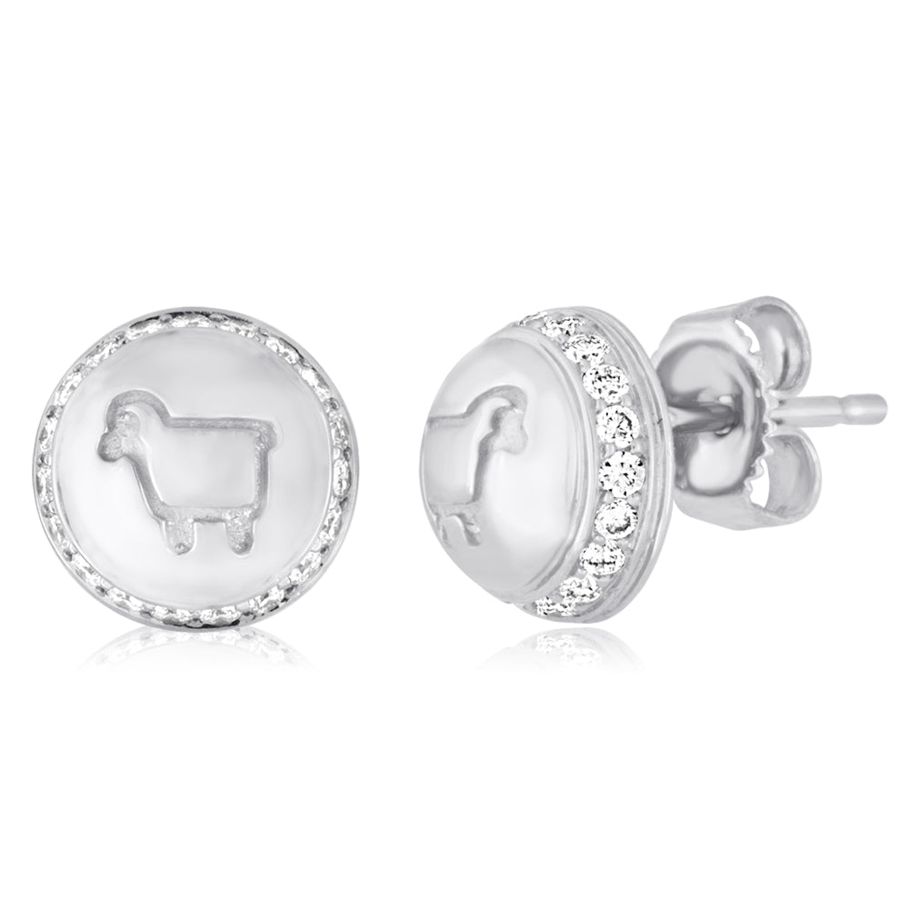 "Sterling Silver ""Be Ewe"" Button Studs"