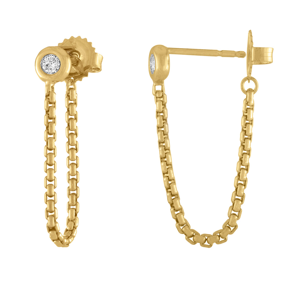 18K Yellow Gold Crosstown Chain Earring