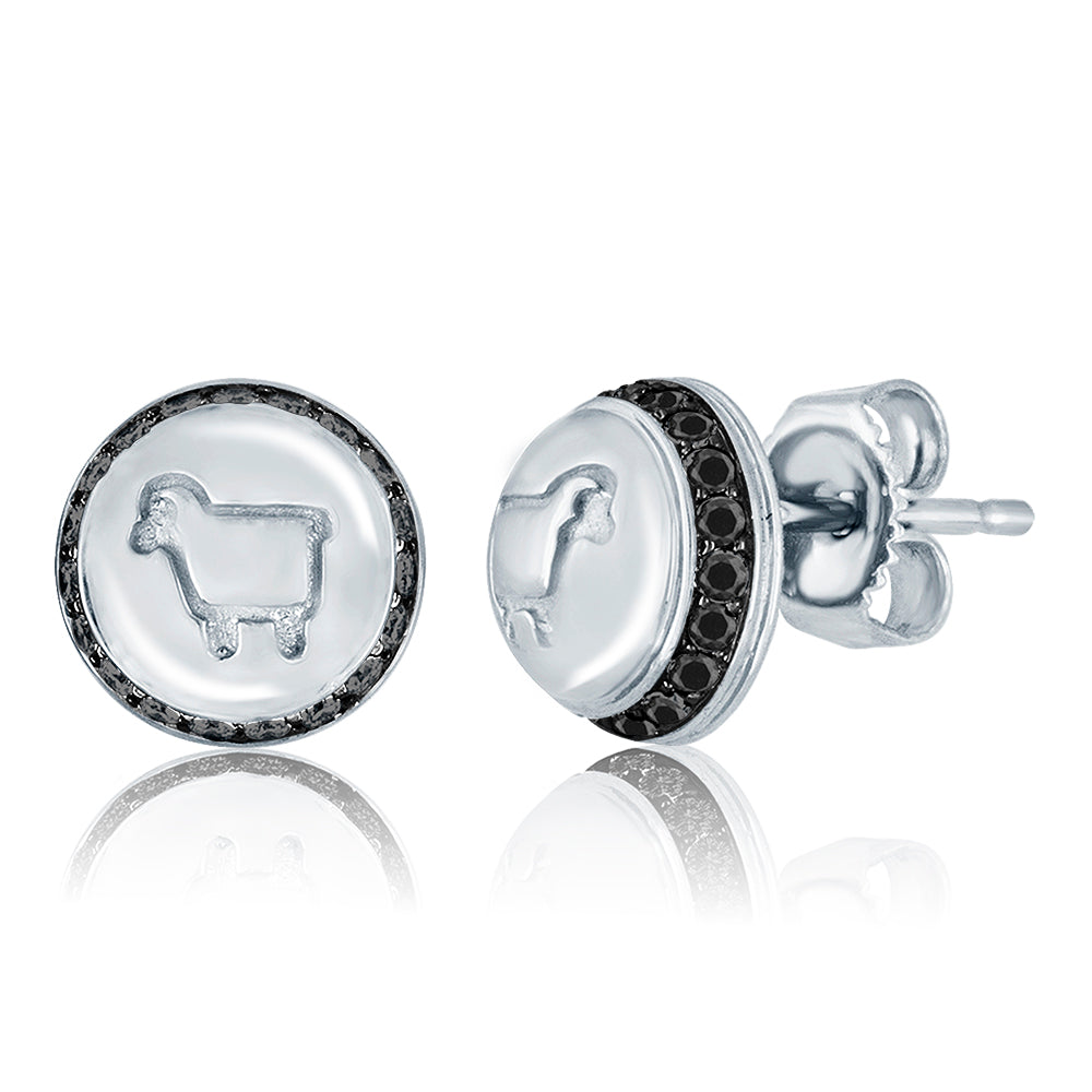 *Sterling Silver and Black Diamond Be Ewe Button Studs