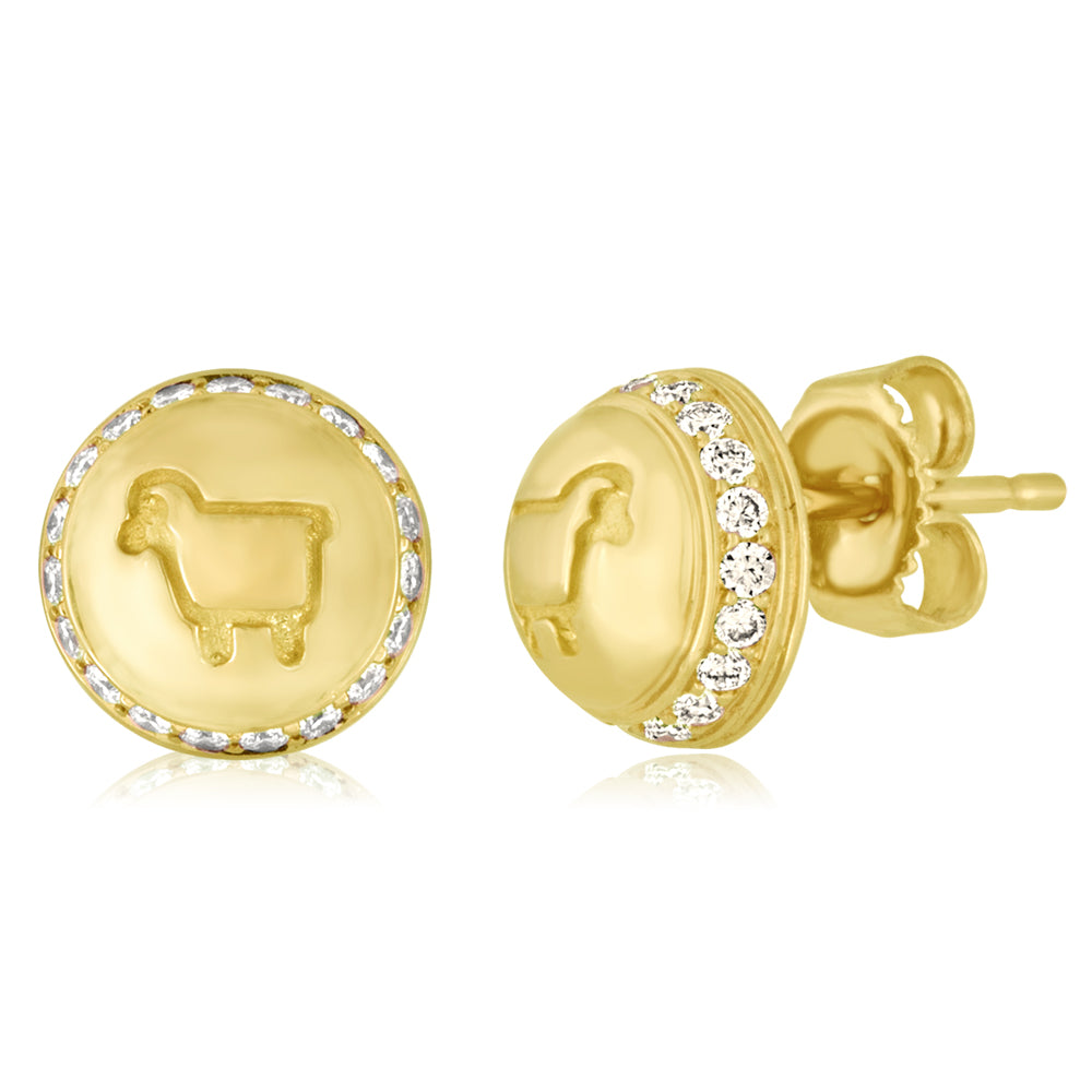 *18K Yellow Gold Be Ewe Button Studs
