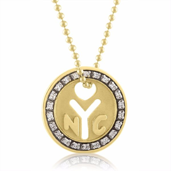"18K Yellow Gold NYC ""Make It There"" Token Necklace"