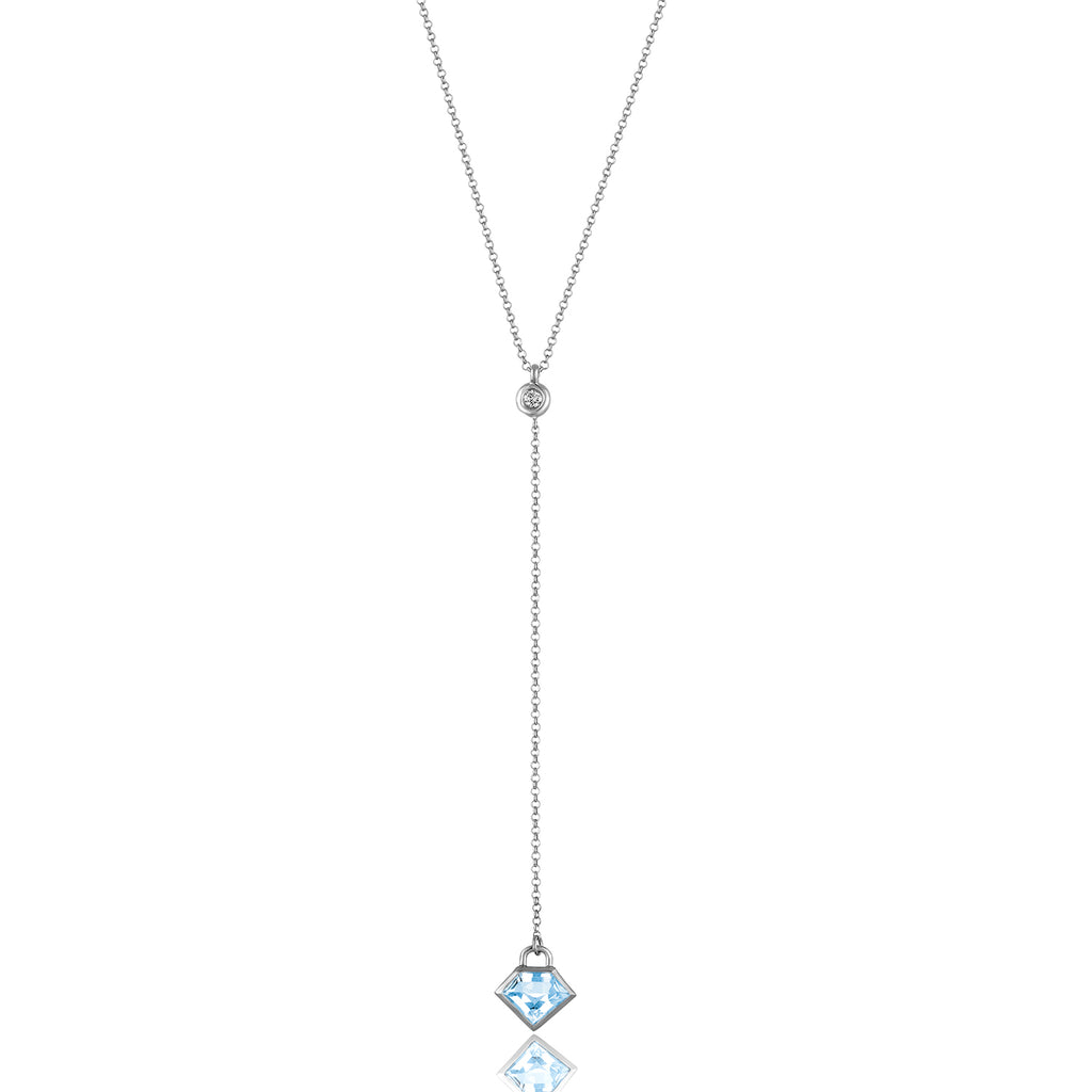 *Sterling Silver Lane Lariat with Semi-Precious Stone and Diamond
